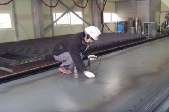 Stocked steel material thickness test